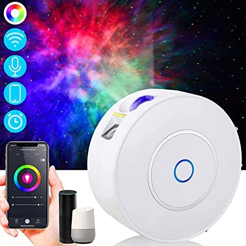 Projetor de luz noturna LED xuelili,Compatível com Alexa e Google Assistant,Projetor de galaxia Controle por APP de Telefone com Static ou Moving Nebula Clouds Star para decoração de quartos e festas