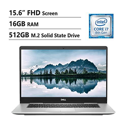Dell Inspiron 7000 Laptop, 15.6' FHD LED Display, Intel I7-8550U, 16GB Ram, 512GB M.2 SSD, NVIDIA GeForce 940MX, Wireless-Ac, Backlit Keyboard, Waves MaxxAudio Pro, Win10 Home, Silver