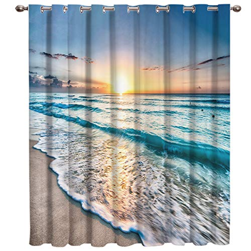 """SODIKA Window Curtains for Bedroom Living Room Dining Grommet Top Window Treatment/Drapes,Ocean Theme Sand Beach Wave Sea Water Pattern 52""""x63"""",One Panel"""