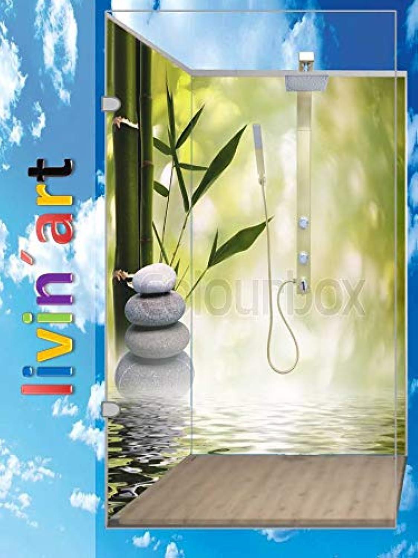 LivinART Duschrückwand, Badrückwand, Rückwand - ZEN Steine Bambus Motiv, Asiatische Steine, 2 Platten mit je 90x200cm, fugenlos, Bad-Verkleidung Wandbild Fliesenersatz (2 Platten mit je 90x200cm)