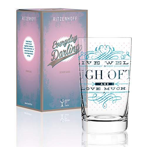 RITZENHOFF Everyday Darling Softdrinkglas von Burkhard Neie, aus Kristallglas, 300 ml, mit trendigen Dekoren