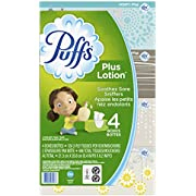 Puffs Plus Lotion Facial Tissue, 4 Family Boxes, 124 Facial Tissues per Box, 496 tissues per pack, Packaging May Vary