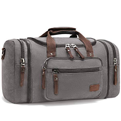 Outdoor Sports Bags, Fresion Vintage Canvas Handbag Travel Tote Luggage Men's Weekender Duffel Bag for Women & Men with 44L (Grey 53x30x25)