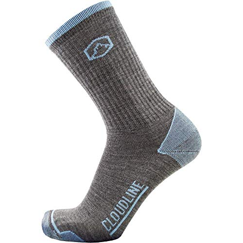 CloudLine Merino Wool Hiking & Athletic Crew Socks - Ultra Light Weight - Large Hi-Vis Orange - Made in the USA