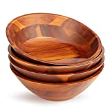 AIDEA Wood Salad/Soup/Cereal/snack Bowls Set 7 inch(4 Pieces)