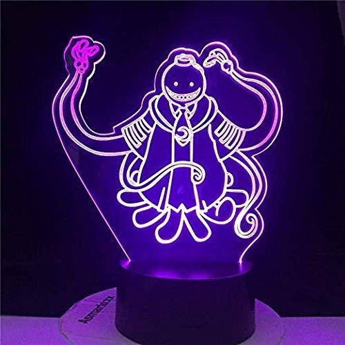 Luz de noche LED 3D, regalos de juguete para niños, Assassination Classroom Korosensei Figura Kid para decoración de dormitorio Luz Anime Regalo para niños Mesa 3D Lámpara Koro Style