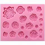 Funshowcase 21 Cavity Roses Flower Fondant Candy Silicone Mold for Sugarcraft Cake Decoration, Cupcake Topper, Polymer Clay, Soap Wax Making Crafting Projects