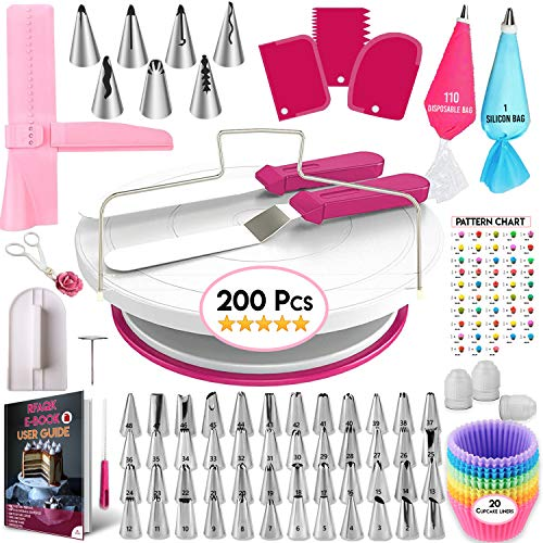 200 Pcs Cake Decorating Supplies Kit for Beginners-1 Cake Turntable Stand with Piping bags and Tips -2 Spatula-Cake Leveler & Icing Smoother-55 Piping tips & Nozzles-Baking tools -20 Cupcake liners