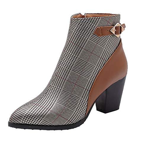 Damen Stiefeletten Chelsea Boots Winter Nähte Farbe Heels Stiefel Frauen Schuhe mit hohen Absätzen (35 EU,Braun)