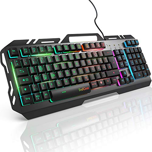 Gaming Tastatur, TedGem PC Gaming Tastatur PS4 Gaming Tastatur USB Wired Gaming Tastatur 19 Schlüssel Anti-Ghosting mit LED Beleuchtete, Tastatur Für PC/Laptop/PS4/Xbox One (Deutsches layout)