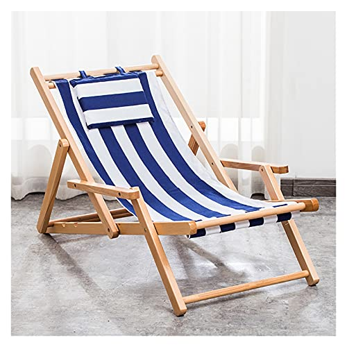 Wooden Deck Chair Garden Lounger with Armrests,Outdoor Folding Adjustable Beach Patio Chair with Canvas,Ergonomic Sling Chair for Living Room Balcony Courtyard (Color : Blue)
