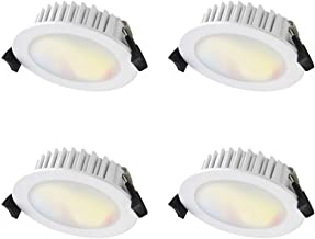 WiZ Smart Tunable Colours LED Downlight - 10W - 815lm 90mm cutout - Pack of 4 - 2200k~5500k - WiFi - No Hub Required - App...