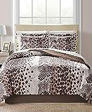 Modern Living Brown Cheetah Leopard Zebra Safari Animal Prints Reversible Queen Comforter Set (8 Piece Bed in A Bag) + Homemade Wax Melts
