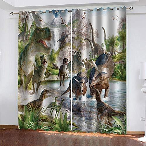 JYNVOAT Gardinen Jura-Dinosaurier 2er Set Kinder Vorhang Blickdicht Schal, 3D Gardine Blickdichte mit Ösen, Printing Shading Vorhänge 220 x 215cm