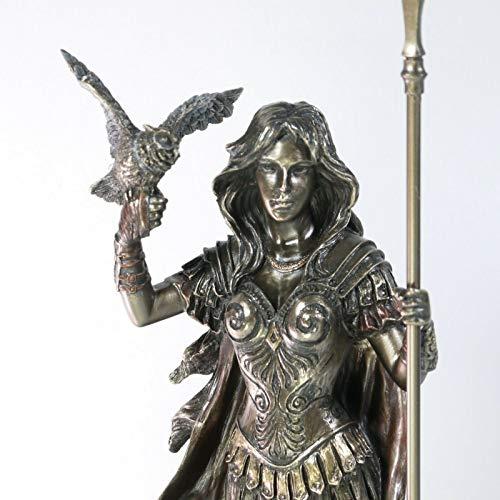 BeautifulGreekStatues Estatua de Atenea con búho Diosa de la Sabiduría y la Guerra con acabado de bronce de 30,5 cm