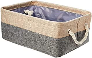 Amazon Basics Two Tone Linen Storage Basket Bin with Handles, Set of Two, Small