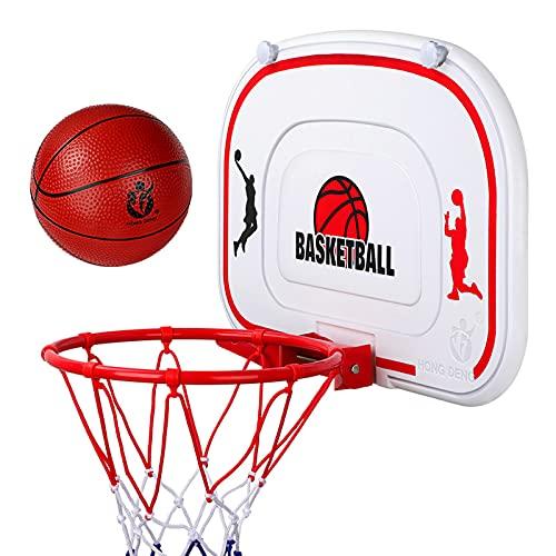 Juego de aro y tablero de baloncesto para niños,aro de baloncesto montado en la pared con bola de red y bomba,juegos deportivos portátiles para interiores y exteriores,con tornillo de instalación