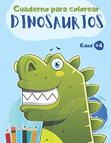 Cuaderno para colorear Dinosaurios: Libro de colorear para niños y niñas de 4 a 8 años o preescolar y primaria | 44 dibujos de dinosaurios para colorear