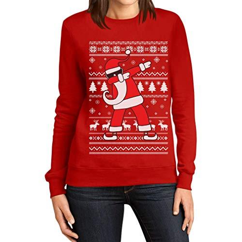 Weihnachten Dab vom Weihnachtsmann Damen Weihnachtspullover Frauen Sweatshirt Large Rot