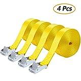Cinchos para Manipulación de Material, Comius 4 Pcs Correa de Amarre, Cinchas de Sujeción de Carga 2.5cm x 5m Correas de Sujección con Hebillas (Yellow)