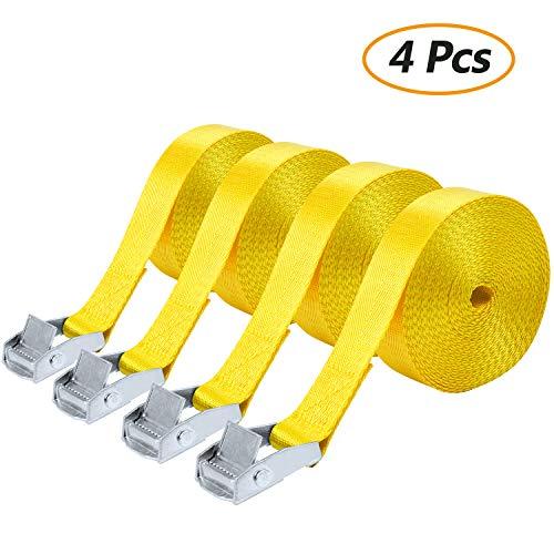 Comius 4 Pcs Spanngurte, Hochleistungs-Spanngurte, Befestigungsriemen-Set, Bindegurte, Zurrgurt, Ideal zur Befestigung am Fahrradträger, Klemschloss Gurte, Spanngurte (5Mx25MM) (Gelb)