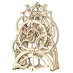 ROKR 3D Wooden Mechanical Pendulum Clock Puzzle,Mechanical Gears Toy Building Set,Family Wooden Craft KIT Supplies-Best Birthday Gifts for Kids Adults to Build