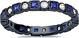 2.5mm Bezel Set Full Eternity Ring Alternating Round Simulated Blue Sapphire 925 Sterling Silver Choose Color