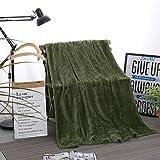 UANOU Hohe Qualität Plüsch Tagesdecke Decke 200X230 cm Hohe Dichte Super Weiche Flanelldecke Für Schlafsofa Auto Reisedecke (Dunkelgrün)