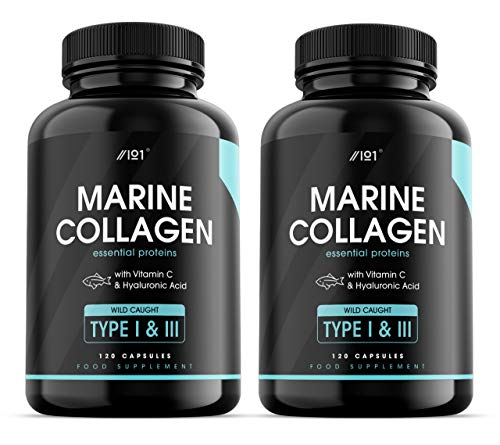 Wild-Caught Marine Collagen Capsules - Types I & III Collagen Peptides - Hydrolysed Deep Ocean Canadian Collagen, Made with Hyaluronic Acid, 120 Caps (2 Pack)