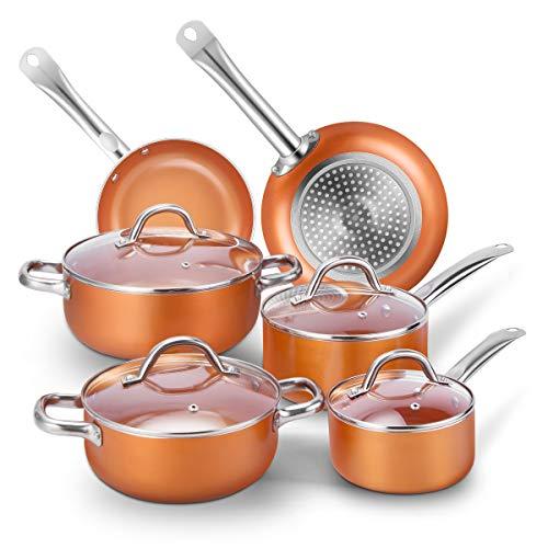 CUSIBOX Topfset Pfannenset Aluminium 10-Teilig Antihaftbeschichtung Töpfe Induktionstöpfe Kochtopf Kochgeschirr mit 4 Glasdeckel, Orange