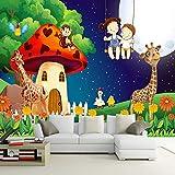 Papel pintado personalizado lienzo personalizado pintura mural impermeable árbol de dibujos animados habitación de setas jirafa niños dormitorio decoración de la pared mural de la pared
