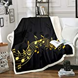 Musical Note Blanket Golden Staff Pattern Sherpa Blanket for Adult Classic Music Themed Fleece Throw Blanket Piano Notation Plush Blanket Room Decor Twin 60'x80'