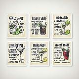 TeriliziCocktail Stampe d'Arte su Tela Poster Decorazioni per Cocktail Ricette per Cocktail Illustrazioni Arte Pittura Immagini per Pareti Cucina Decorazioni per La Casa-30X40Cmx6 Senza Cornice