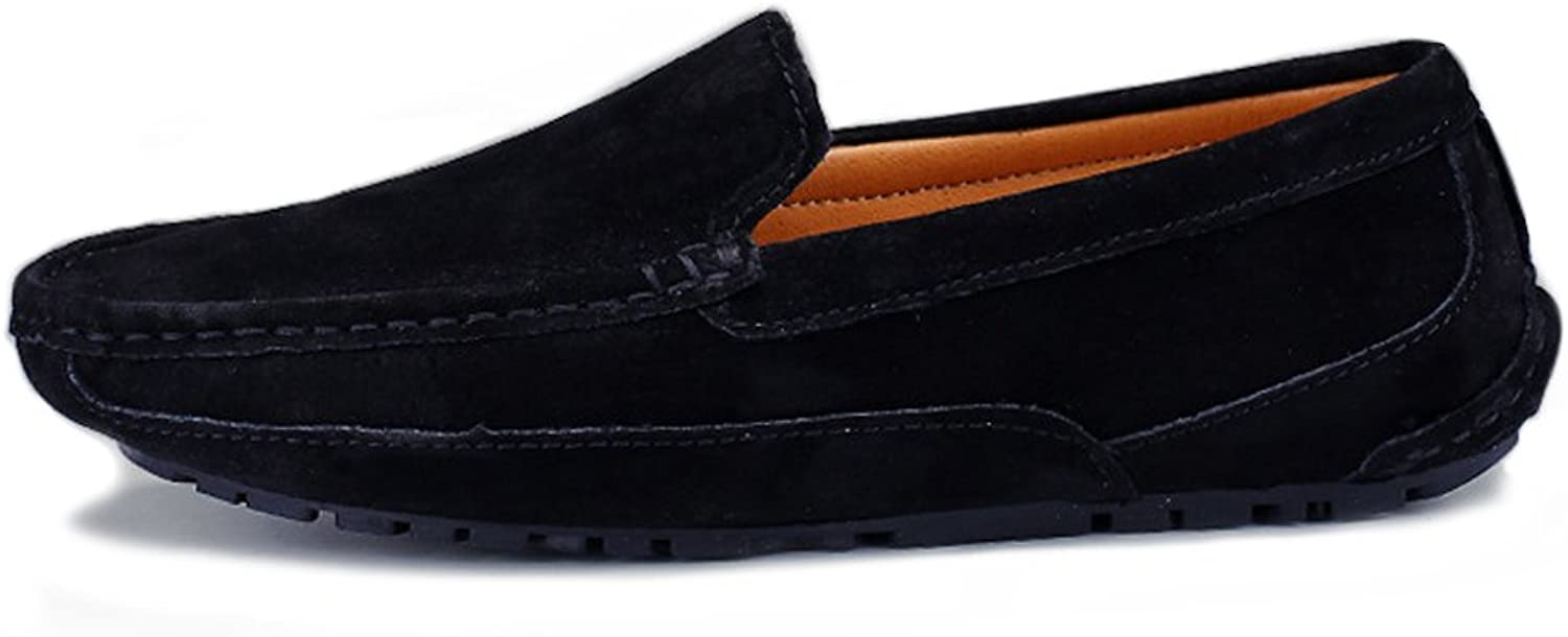 Leather Driving shoes Men's Stylish casual comfort classic Driving Penny Loafers Handwork Suture Suede Genuine Leather Moccasins Boat shoes Lazy Driving shoes (color   Black, Size   5.5 UK)