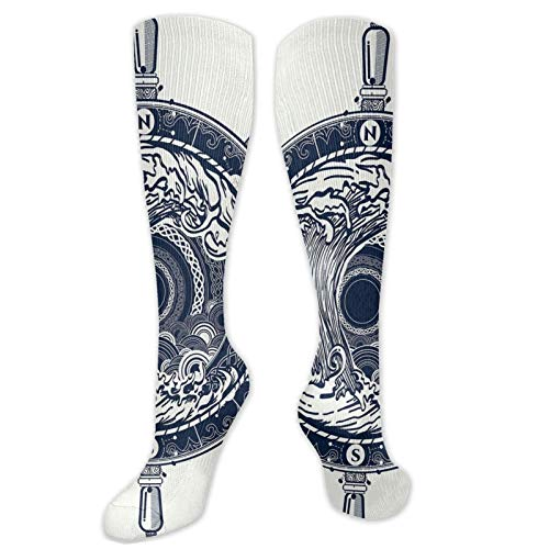 Compression High Socks-Sea Compass And Storm Tattoo Design In Celtic Style Tsunami Waves And Wheel,Socks Women and Men - Best for Running, Athletic,Hiking,Travel,Flight
