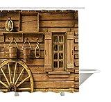 Yeuss Western Decor Collection, antikes Wagenrad, rustikales Vintage-Laternenfenster aus Holz & Eimerbild, Duschvorhang aus Polyestergewebe, Set mit Haken, Khaki