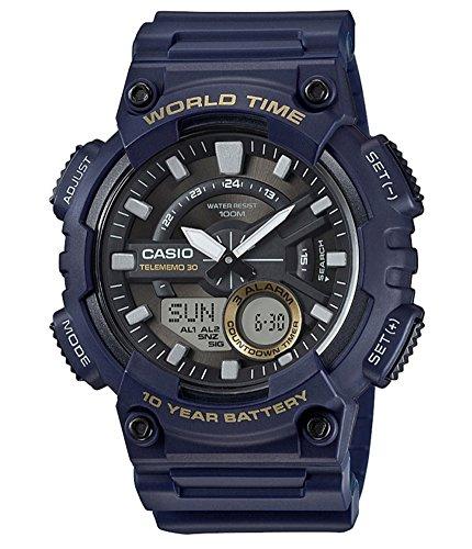 Casio Reloj Analogico-Digital para Hombre de Cuarzo con Correa en Resina AEQ-110W-2AVEF
