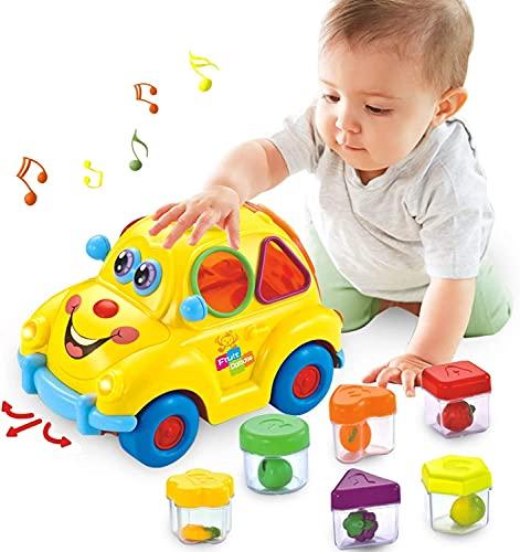 GLOBAL IGO. Baby Musical Auto Spielzeug Fruchtform Early Education Baby Spielzeug 12-18 Münder Obst Form Sortierer Omni-Richtungsrad Nettes Auto mit / Musik / Licht / Block Geschenk Spielzeug für 1 2