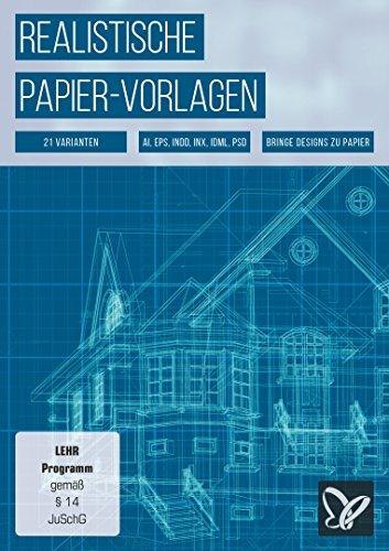 Realistische Papier-Vorlagen: liniert, kariert, Blueprints & Notenblätter
