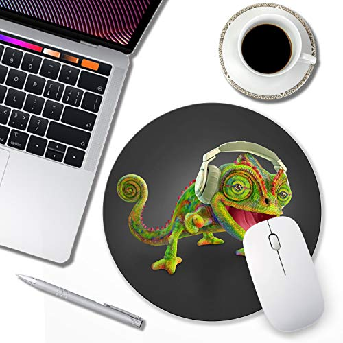 Cute Mouse pad Personalized Design Funny Animal Chameleon Mouse pad Round Non-Slip Rubber Mouse pad for Computers Photo #4