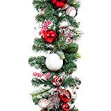 [9 Foot Artificial Christmas Garland] - Nordic Collection - Red and White Decoration - Pre Lit with 100 Candy Cane Colored LED Mini Lights - Includes Remote Controlled Battery Pack with Timer
