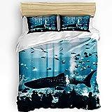 Fadaseo Juego de Funda nórdica Ocean Shark, Ultra Suave y Transpirable para Dormitorio, Funda de Almohada de 3 Piezas y Funda nórdica, ilustración de Silueta de Acuario de Animales Marinos