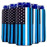 QualityPerfection 6 Slim Can Cooler Sleeves, Beer/Energy Drink Blank Skinny 12 oz Neoprene Coolie (6, EMS)