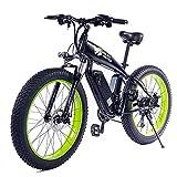 Bicicleta De Montaña Eléctrica 26 Pulgadas 350W 48V 13Ah Neumático Gordo Plegable Bicicleta De Nieve 21 Velocidad E-Bike Pedal Assist Batería De Litio Frenos De Disco Hidráulico Para Adultos,Verde