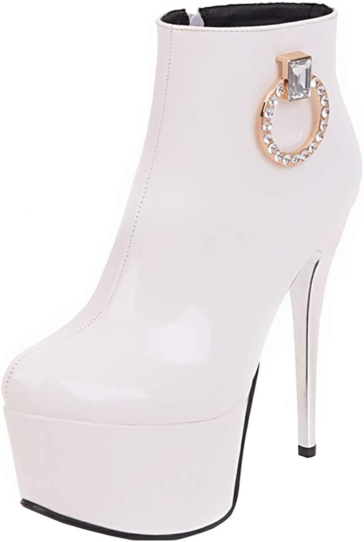 Kikiva Womens Super High Heel Ankle Boots Platform Stiletto Fashion Party Short Booties