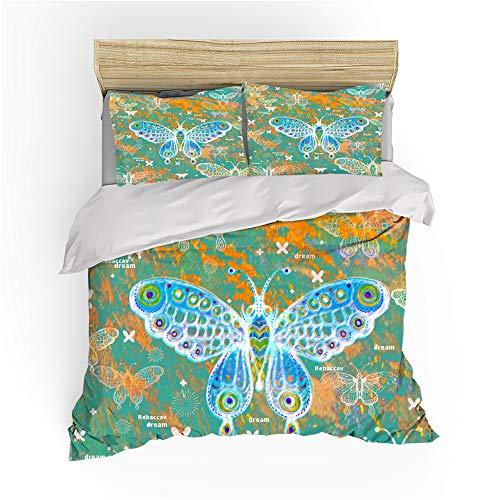 Zbeiba Juego de cama con funda de edredón y diseño de mariposas, estilo vintage, juego de ropa de cama de 3 piezas, # 10, juego de edredón tamaño super king, 220 x 260 cm, sin edredón y sábana.