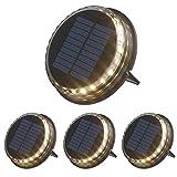 Decdeal Juego de 4 lámparas solares para jardín, iluminación de suelo, luces LED para jardín