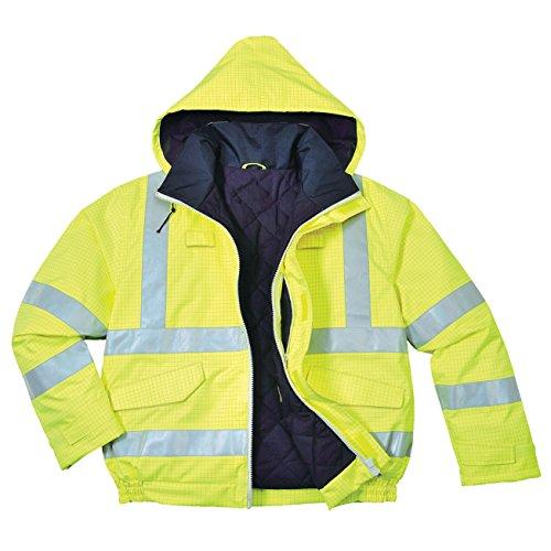 PORTWEST S773 - Bizflame Regenwarnschutz Piloten-Jacke, antistatisch und Flammhemmend, 1 Stück, L, gelb, S773YERL