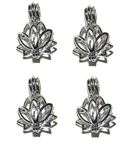 4 Pack of Lotus Blossom Bead Cage - Old School Geekery Brand Jewelry Making Supplies - Hollow Silver Plated Bead Cage Pendant