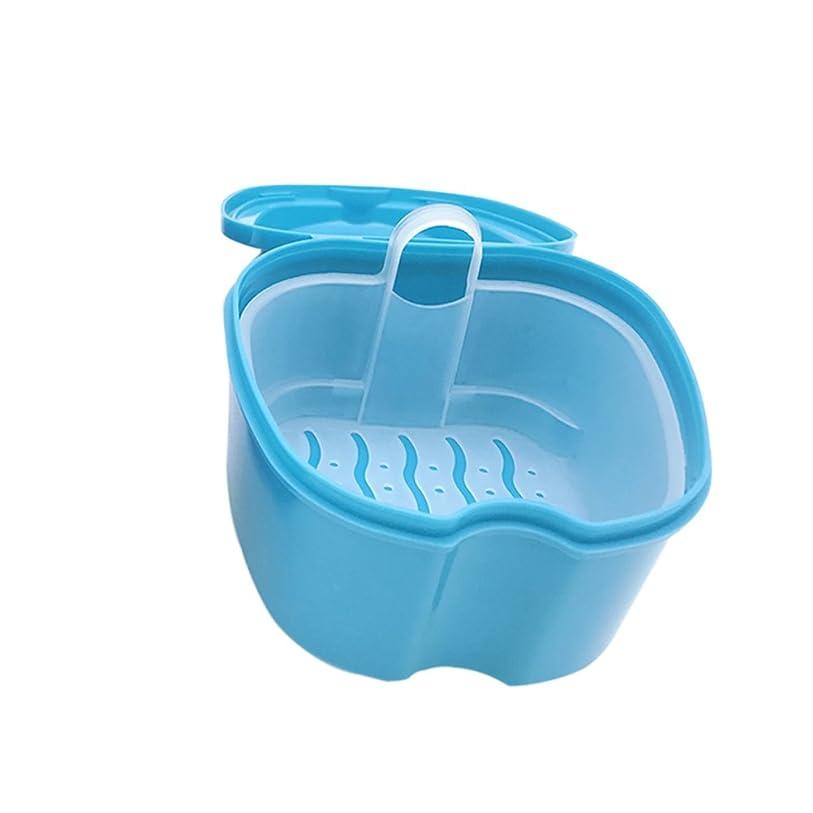 トランペット上へキュービックHealifty 義歯ボックスケース義歯バスボックスケースデンタル偽歯収納ボックス吊りネットコンテナー2PCS(ライトブルー)